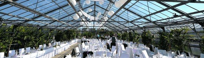 Hochzeitsfeier im Gewächshaus der Gärtnerei Decher bei Tag.