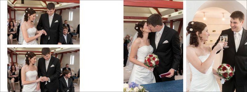 gestaltete Doppelseite im aufgeklappten Format von 80x30 cm - im Standesamt steckt sich das Brautpaar die Ringe an, rechts: Sektanstoß