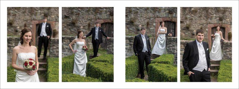 gestaltete Doppelseite im aufgeklappten Format von 80x30 cm - das Brautpaar - Fotografien im Freien.