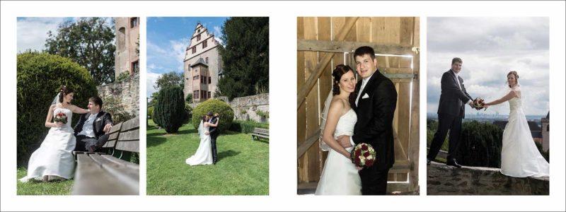 Vier Paarfotos mit dem Brautpaar: gestaltete Doppelseite im aufgeklappten Format von 80x30 cm.