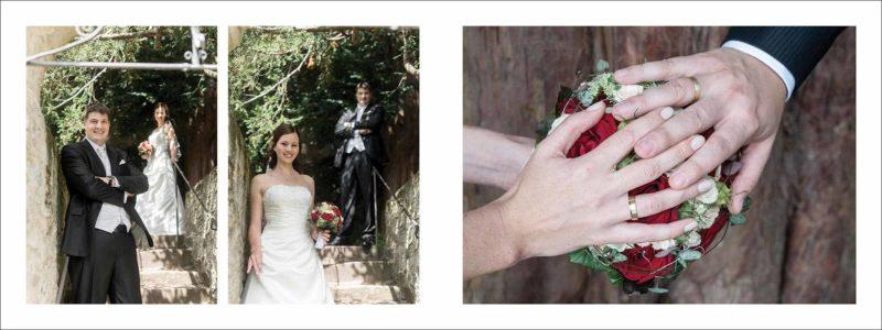 weitere Doppelseite: Braut und Bräutigam auf der Treppe und Close-Up der Hände mit den Ringen über dem Brautstrauß.