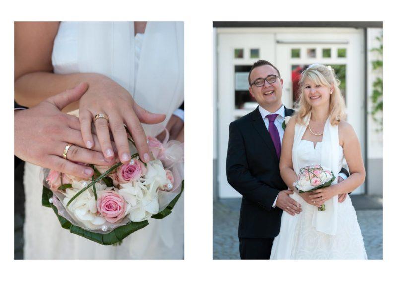 Die Trauringe über dem Hochzeitsstrauß | Porträt des Hochzeitspaares.