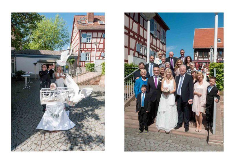 die Tauben fliegen | Gruppenfoto der Hochzeitsgesellschaft.
