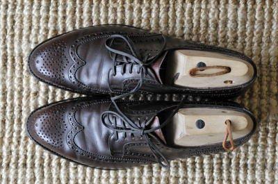 Blick on oben auf Eduard Meier Schuhe: Peduform Derby Full Brogue, dunkelbraun